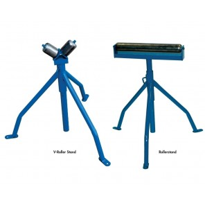 "ROLLER STANDS, V-Roller stand - round materials, Cap. (lbs.): 250, Adjustable Height: 26 - 38"", Overall Width: 6"""