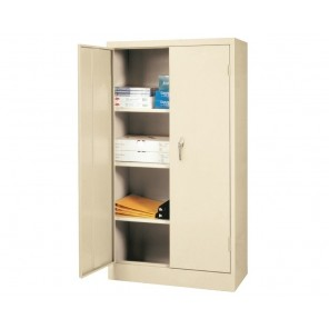 "STORAGE CABINETS -- VALUE LINE SERIES, Dove Gray, Shelf Type: Fixed, Size W x D x H: 30 x 15 x 66"", No. of Shelves: 3, No. of Handles: 1"