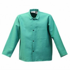 FR630 - 9 oz. Flame Resistant 30 Green Cotton Coat with Collar and Inside Pocket