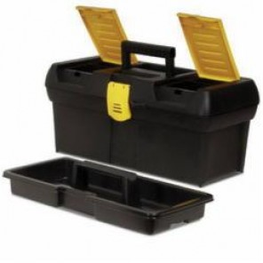 Stanley® 016011R Tool Box With Built In Organizers, 7 in H x 7-1/2 in W x 16 in D, Plastic