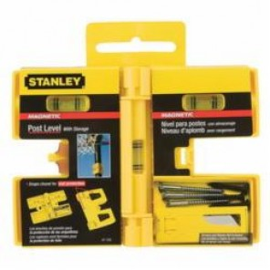 Stanley® FatMax® Xtreme® 47-720 Magnetic Post Level, 6-1/8 in L x 5.19 in W x 0.69 in H, 3 Vials, 0.0005 in/in