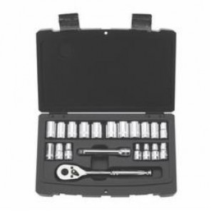 Stanley® 92-802 SAE/Metric Standard Length Socket Set, 20 Pieces, 1/4 in Drive, 6 Point, Steel, Chrome