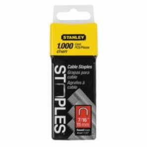 Stanley® CT107T Heavy Duty Round Crown Cable Staples, 7/16 in Leg Length, Divergent Point, 5/16 in Crown Width, Steel