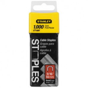 Stanley® CT109T Heavy Duty Round Crown Cable Staple, 9/16 in Leg Length, Divergent Point, 5/16 in Crown Width, Steel