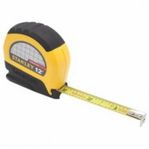 Stanley® LeverLock® STHT30810 Tape Rule, 1/2 in W x 12 ft L Blade, Steel, SAE, 1/16 in