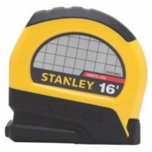 Stanley® LeverLock® STHT30812 Tape Rule, 3/4 in W x 6 ft L Blade, Steel, SAE, 1/16 in