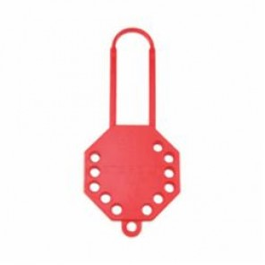 STOPOUT® KDD106 Lock Hasp, 9/32 in Shackle, 12 Padlocks, 7-1/4 in L, Red, Recycled Plastic/Dielectric