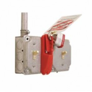 STOPOUT® KDD139 Wall Switch Lockout, 5/16 in Shackle, 2 Padlocks, For Use With Rocker/Toggle/Flat Paddle, Plastic, Red