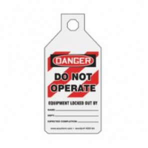 STOPOUT® KDD164 Tab Tag, 4-1/2 in H x 2-1/8 in W, Red/Black on White, Cardstock, 15-mil Polyethylene RP-Plastic