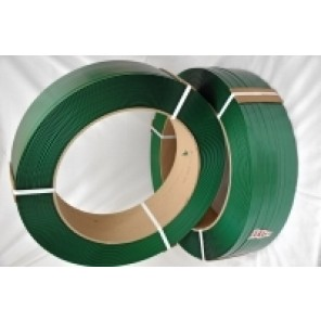 "13781 Polyester Strapping - Green, 5/8"" x .035 x 4000' Coil, 16"" x 6"" Core, Smooth Waxed"