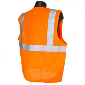 Radians® SV2ZOM Economy Type R Class 2 Mesh Safety Vest with Zipper, Hi-Viz Orange, 2XL