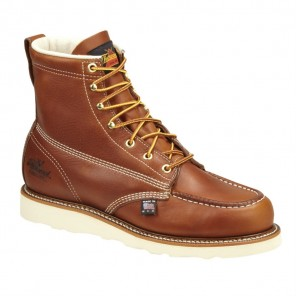 "Mens Thorogood American Heritage 6"" Moc Toe Wedge Work Boot: Tobacco"