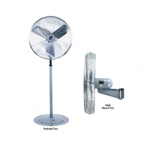 "INDUSTRIAL AIR CIRCULATOR, Fan Dia.: 24"", Fan Type: Pedestal, CFM High: 6800, CFM Low: 5000, AMPS High: 2.5"