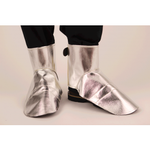 "7"" Spats Choice Aluminized Twaron with Stainless Steel, FR Hook & Loop Closure, Leather Lining w/Metal Insert Over Toe, Size Medium"