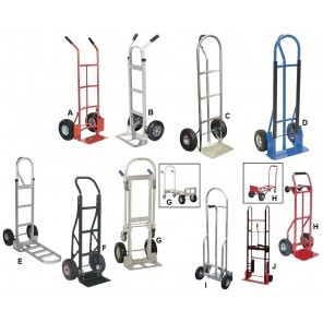 "HEAVY DUTY HAND TRUCKS, Ltr. No.: G, Alum. Convertible, Cap. (lbs.): 500/650, Nose Plate W X D: 18 x 7-1/4"", Wheel 10 x 3-1/2"" Pneumatic"