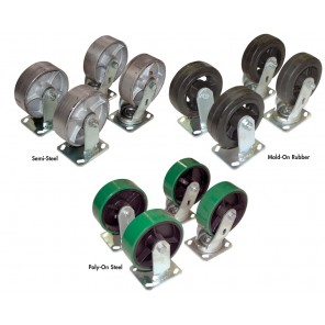 "CASTERS FOR STEEL HOPPERS, Caster Size: 6 x 2"", Mold-On Rubber (2) Rigid & (1) Swivel, Cap. (lbs.): 1800, Ctn. Qty.: 3, For Use With: Steel Hoppers H-25 and H-50 Series, Added Height: 3-3/4"""