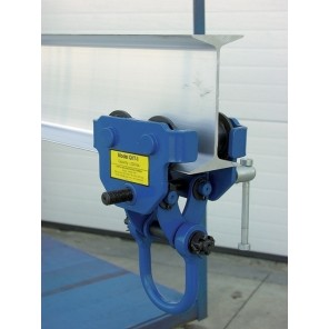 "QUICK INSTALL MANUAL TROLLEY, Cap. (lbs.): 1000, Fits Beam Flange Width: 3 to 5"", Headroom: 6-3/4"""