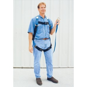 WEB LANYARD w/SAFETY HARNESS, Size: Small, Cap. (lbs.): 350, Length of Lanyard: 6'