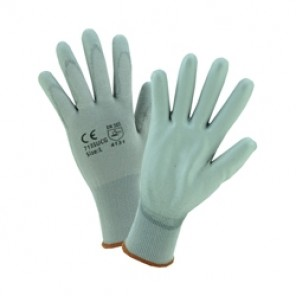 West Chester PosiGrip™ 713SUCG Unisex General Purpose Gloves, Coated/Work, Polyurethane Palm, 13 ga Nylon, Gray, Rib Knit Wrist Cuff, Polyurethane Coating, Unlined Lining, Full Finger