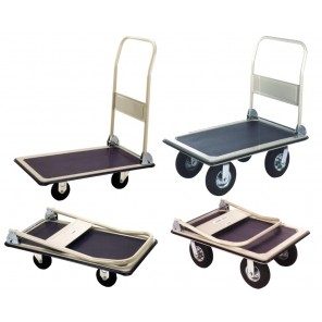 "STEEL FOLDING HANDLE TRUCKS, Deck Size W x L: 19 x 29"", Cap. (lbs.): 400, Caster Size: 4"" Rubber"