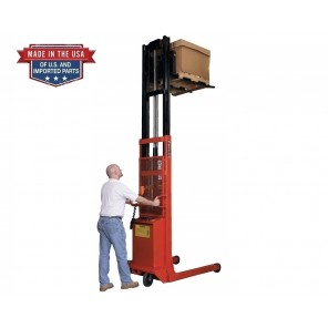 "BATTERY POWERED 1000 LB. TO 2000 LB. PALLET STRADDLE & PLATFORM STACKERS, 24"" X 24"" Platform Units, Cap. (lbs.): 1000, Lift Height: 60"", Base Led Inside/Outside: 15""/21"", Load Center: 15"""