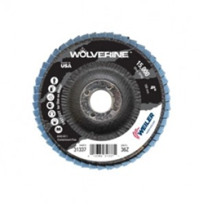 Vortec Pro® Wolverine™ 31337 Fast Cut Coated Flap Disc, 4 in Dia, 5/8 in, 36/Extra Coarse, Zirconia Alumina Abrasive