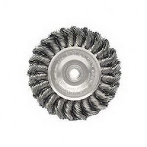 Dualife™ 08044 Wire Wheel Brush, 4 in Dia x 1/2 in W, 1/2 - 3/8 in, 0.014 in Knotted Standard Twist Wire