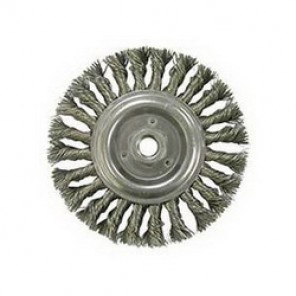 Dualife™ 08346 Wire Wheel Brush, 6 in Dia x 1/2 in W, 5/8-11 UNC, 0.016 in Knotted Standard Twist Wire