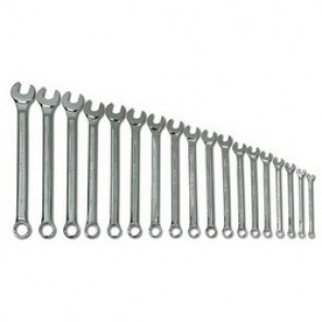 Williams® MWS-18A SUPERCOMBO® Combination Wrench Set, Metric, 18 Pieces, 7 to 24 mm, High Polished Chrome