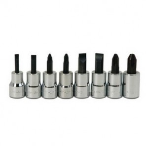 Williams® WSBSP-8RC Socket Driver Bit Set, Imperial, 3/8 in Drive, 8 Pieces, Polished Chrome