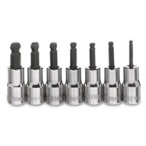Williams® WSM-7HBA Socket Driver Bit Set, Imperial, 1/4 in Drive, 3/32 in Torx, 7 Pieces, Polished Chrome